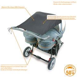 Sonnensegel für Zwillingswagen mit UV-Schutz 50+ von DIAGO